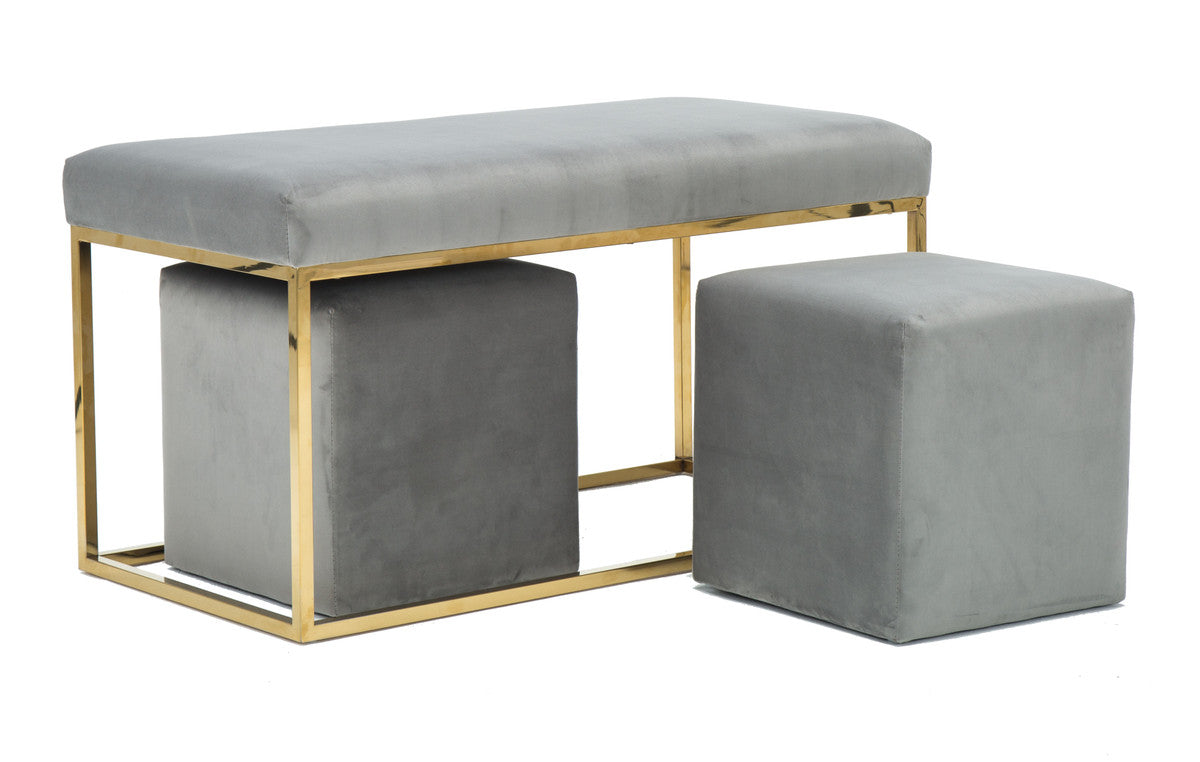Lila Tri Velvet Bench Set By Inspire Me! Home Decor