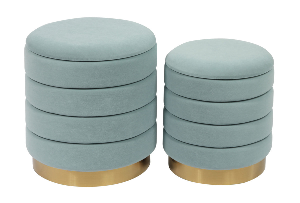 Saturn Teal Storage Ottomans (Set of 2)