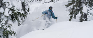 Co-owner, Paul Roberts skiing pow on his Cohen 118s.