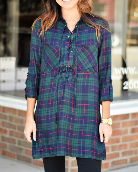 Criss-Cross-Laced-Up-Plaid-Top