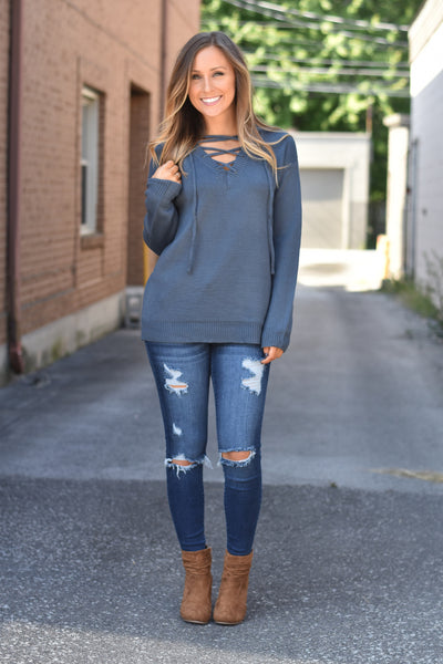 Lace - Up - Sweater