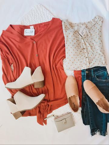 shoes, blouses, and cut-offs