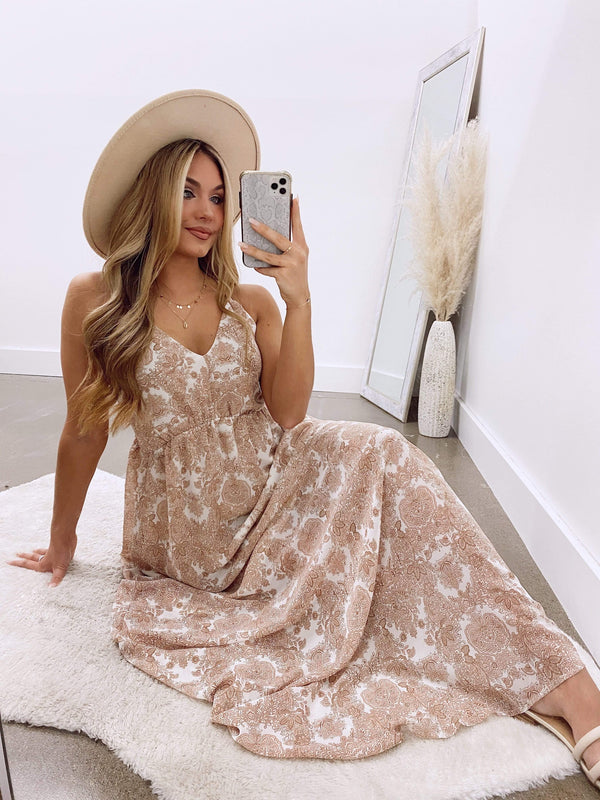 ADJ0036C  Peach Maxi Dress Promesa