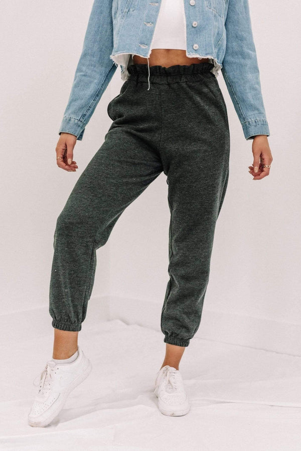 Charcoal Fleece Paper Bag Joggers Lane 201