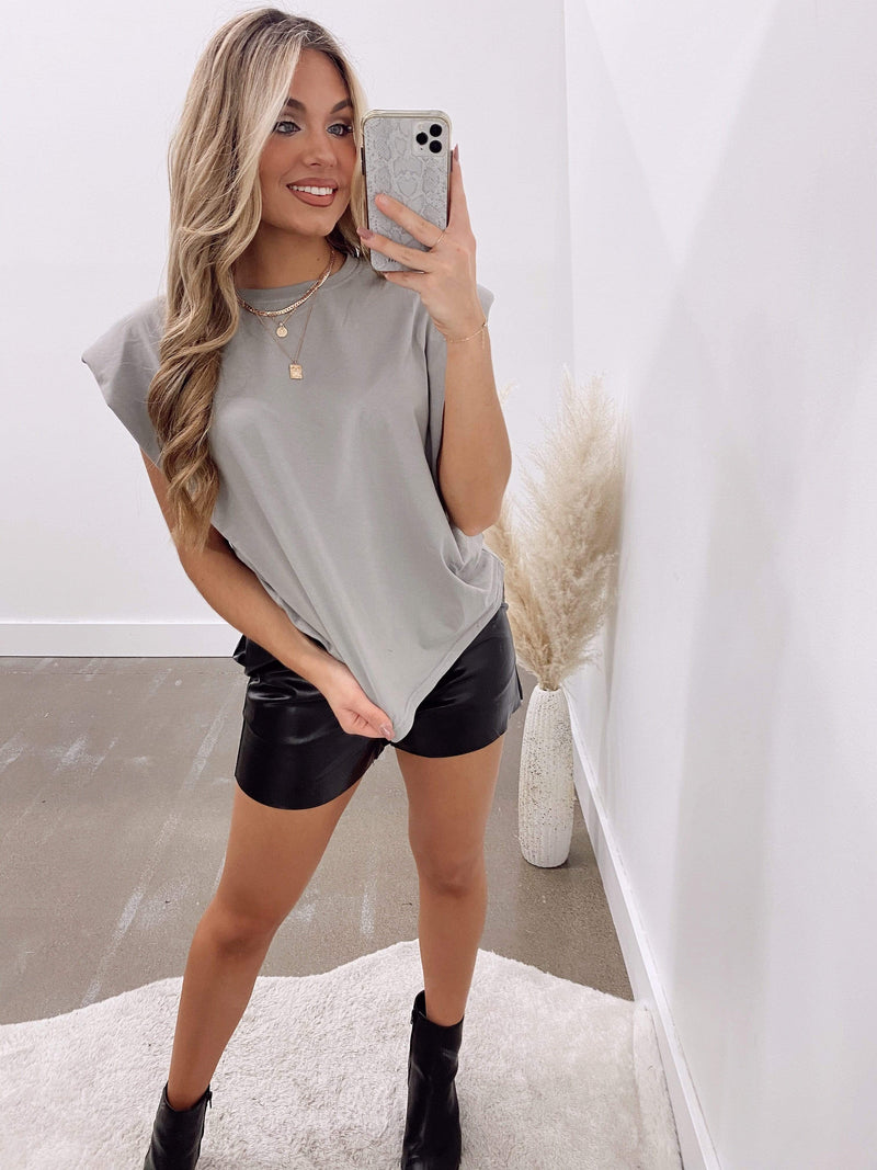 Dark Grey Shoulder Pad Muscle Tee Lane 201