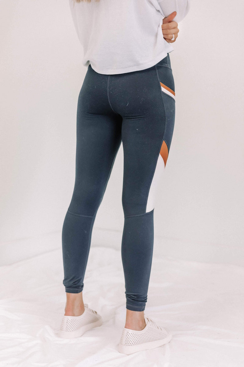 Dark Navy Color Block Leggings Lane 201