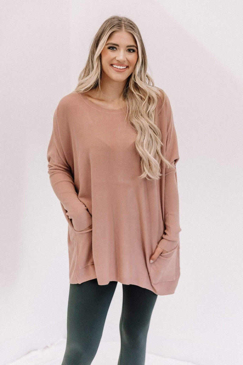 Dusty Rose Oversized Pocket Top Lane 201