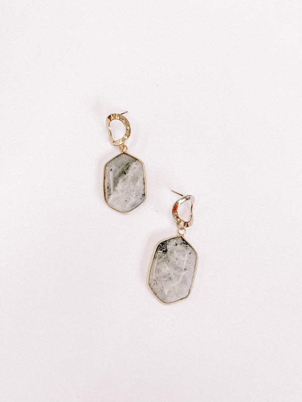 Grey Marble Stone Earrings Lane 201