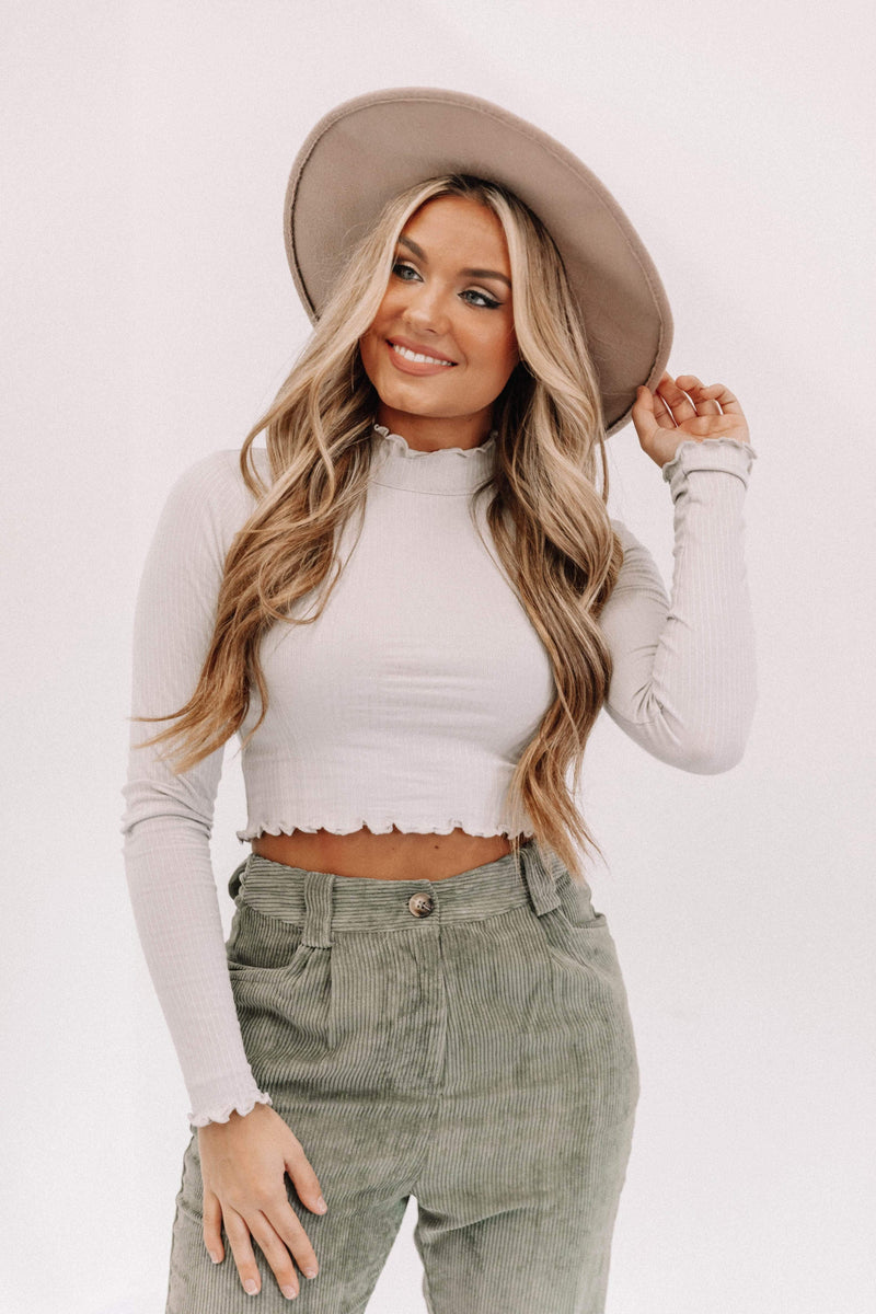 Grey Mock Neck Crop Top Lane 201