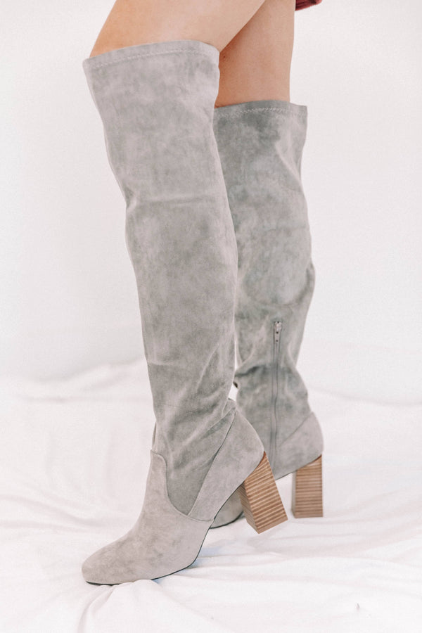 Grey Suede Over The Knee Boots Lane 201