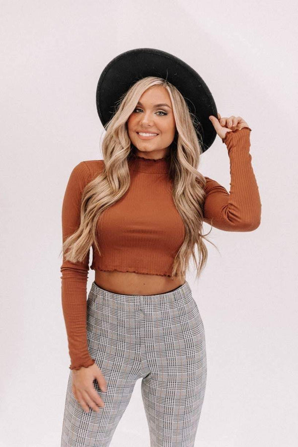 Hazelnut Mock Neck Crop Top Lane 201
