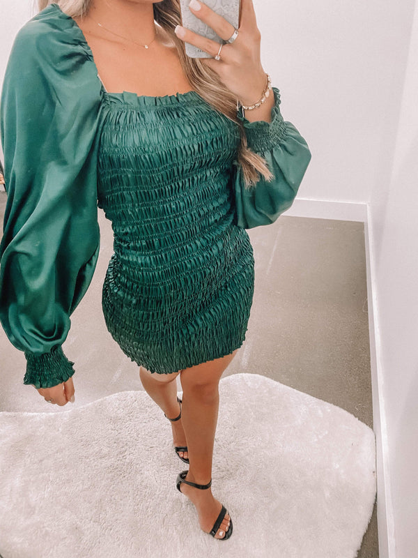 Hunter Green Smocked Satin Mini Dress Lane 201
