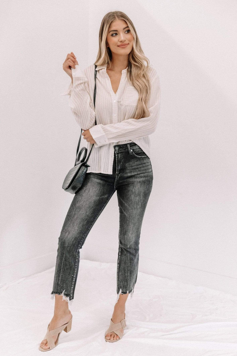 Ivory Button Down Sheer Top Lane 201