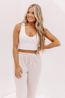 Ivory V Neck Cropped Tank Lane 201
