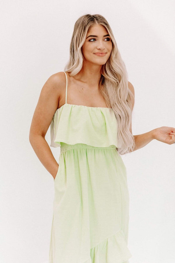 Key Lime Ruffle Hem Dress Lane 201