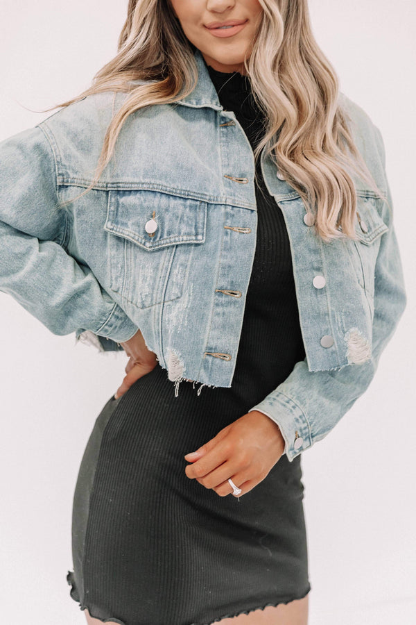 Light Denim Cropped Distressed Denim Jacket Lane 201