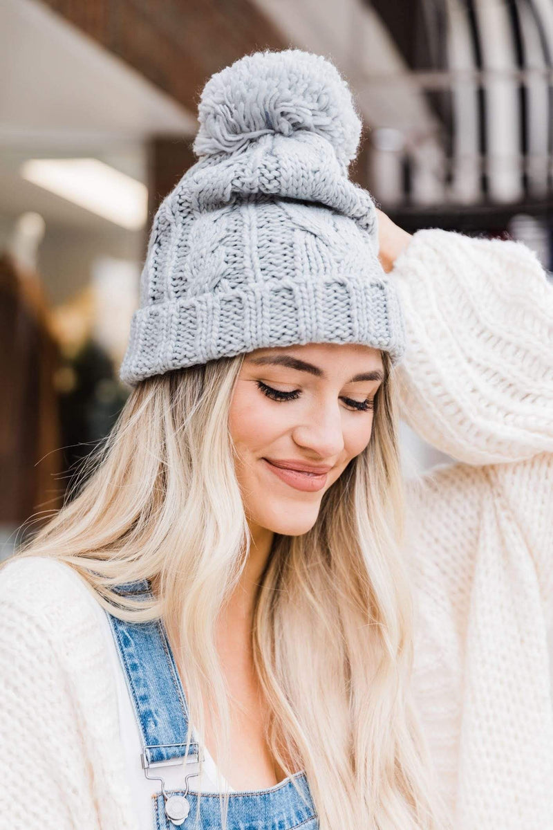 Light Grey Cable Knit Beanie Lane 201