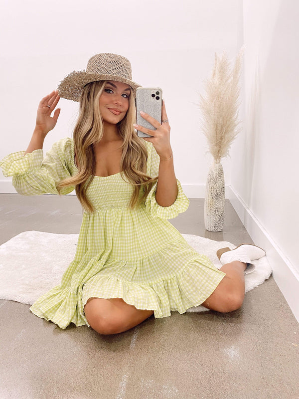 Lime gingham mable dress MABLE