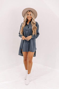Navy Button Down Shirt Dress Lane 201