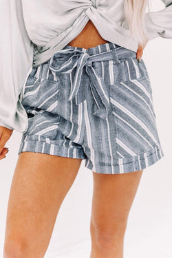 Navy Striped Belted Shorts Lane 201