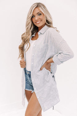 Navy Striped Lace Up Tunic Lane 201