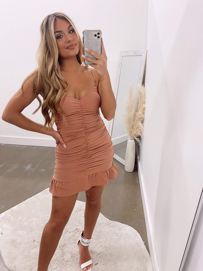 Nude Strappy ruched fitted dress BLUE BLUSH