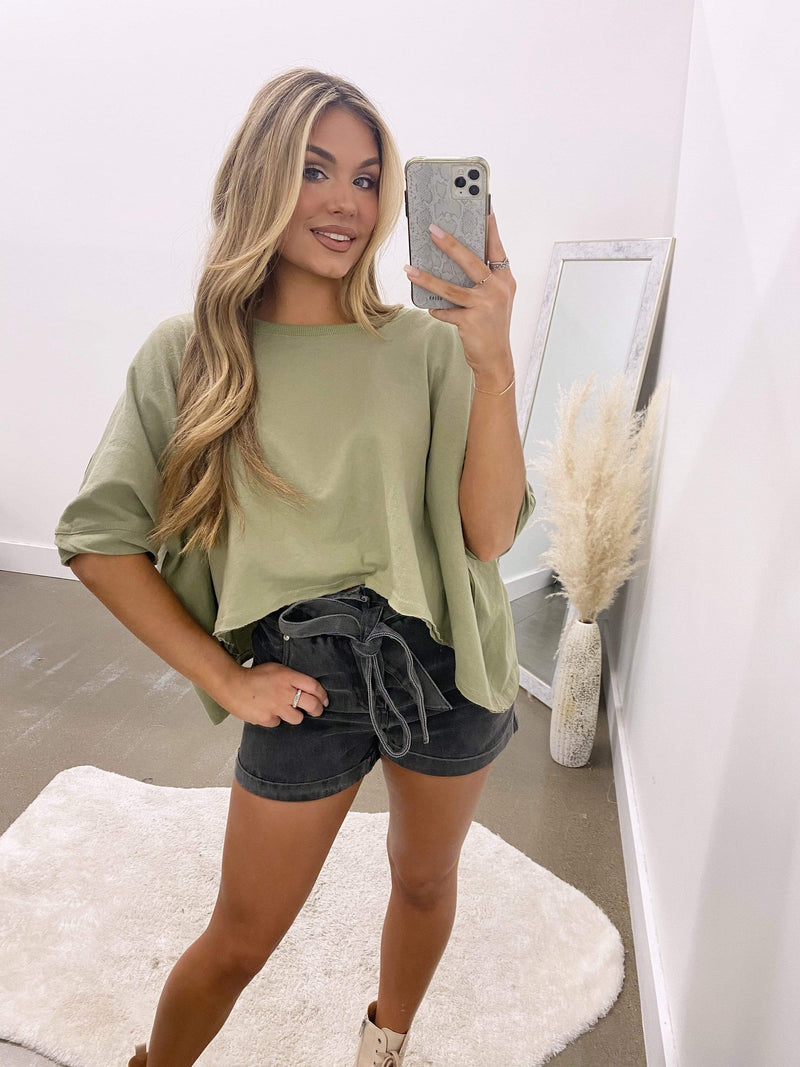 Olive cropped sweatshirt top temporary title papermoon
