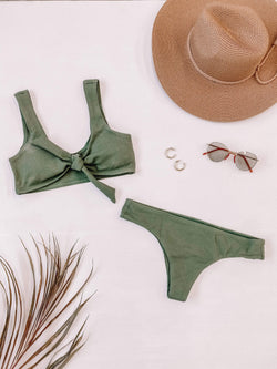 Olive Ribbed Bikini Bottom Lane 201