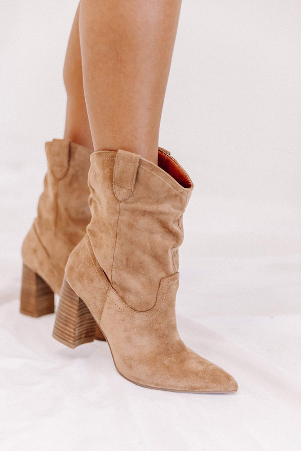 Tan Suede Western Boots Lane 201