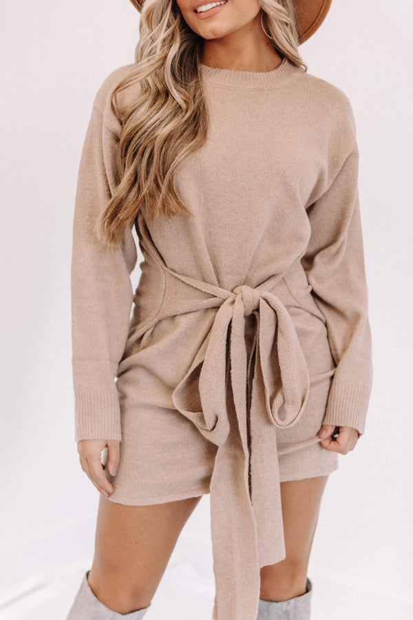 Taupe Belted Sweater Dress Lane 201