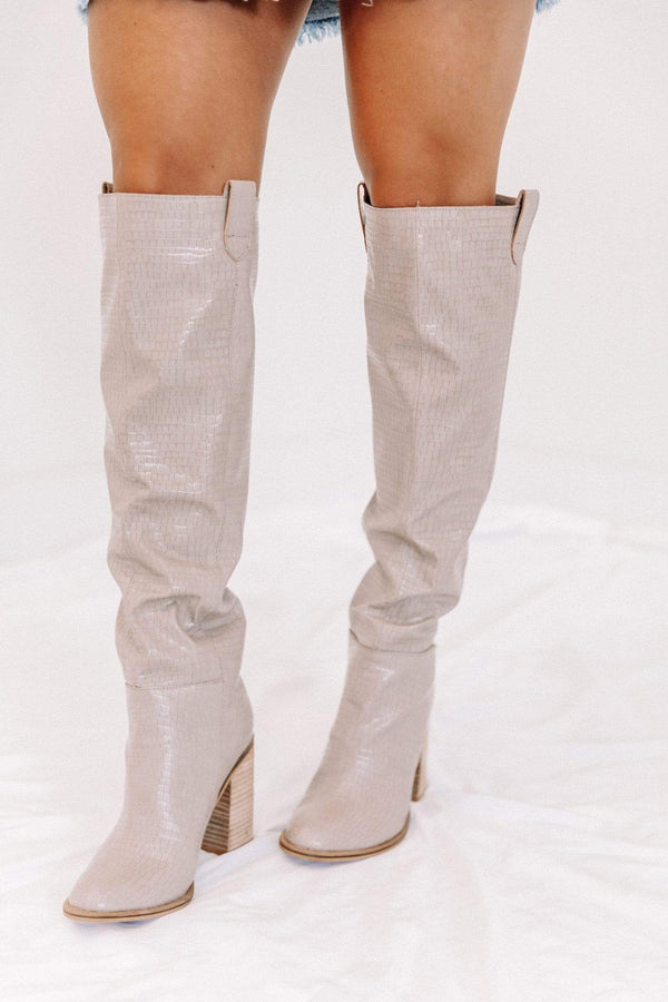 Taupe Croc Knee High Boots Lane 201