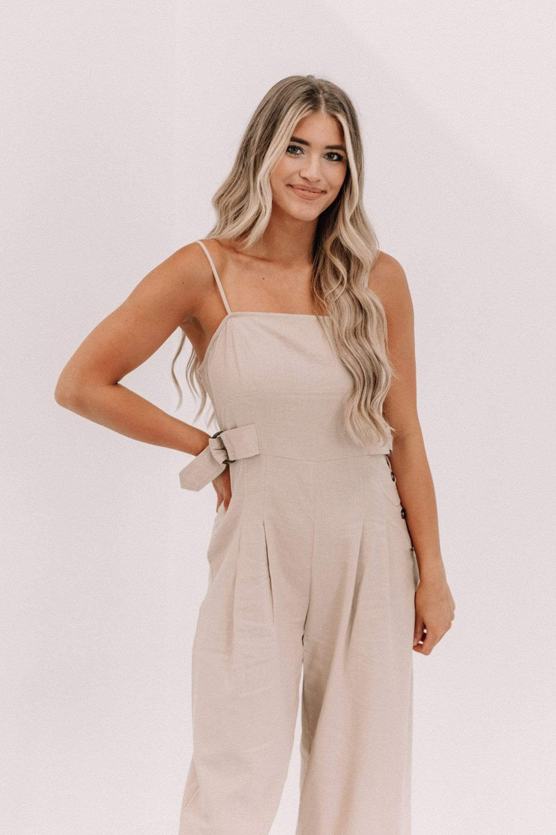 Taupe Cropped Linen Jumpsuit Lane 201