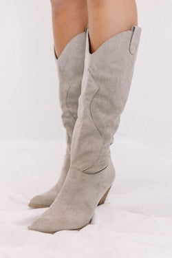 Taupe Knee High Western Boot Lane 201