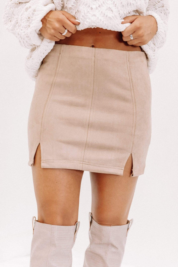 Taupe Suede Mini Skirt Lane 201