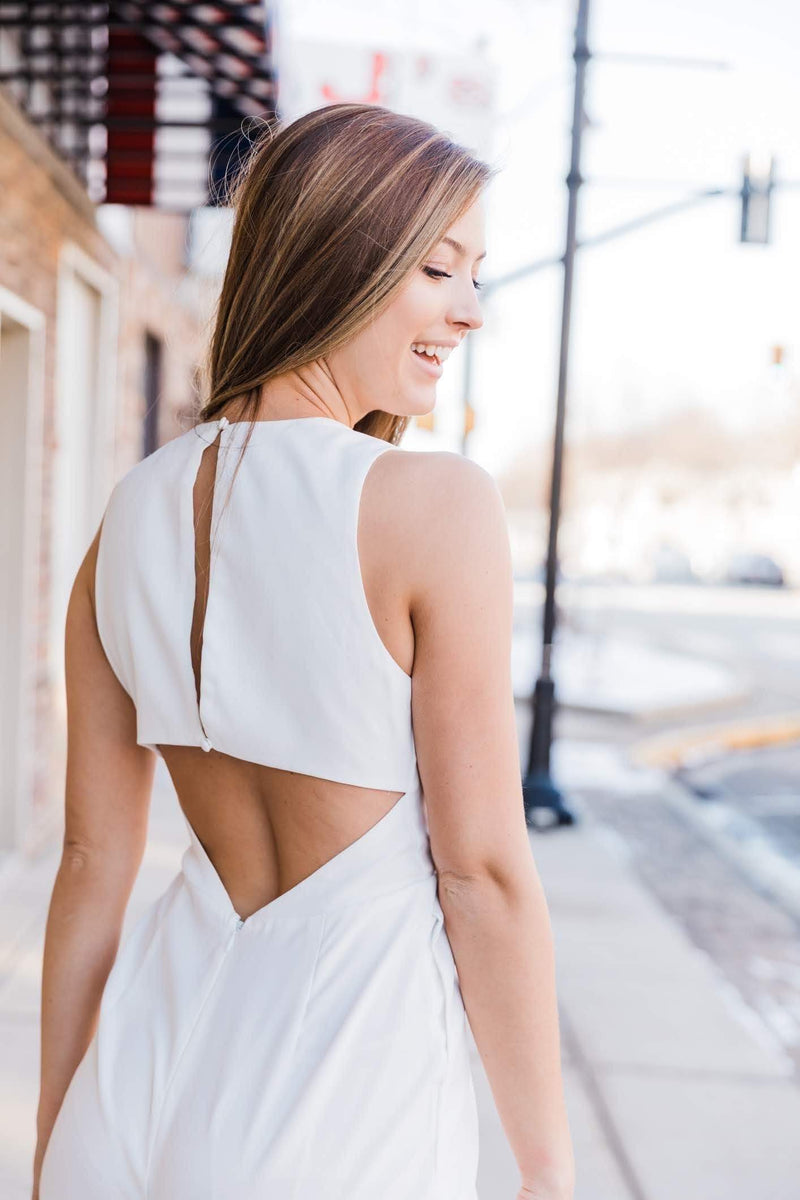 White Say I Do Jumpsuit Lane 201