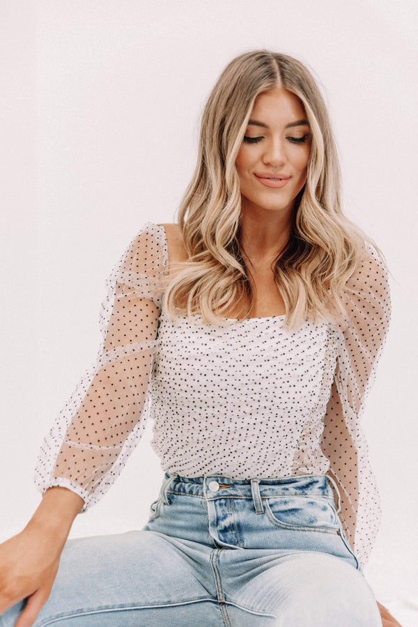 White Sheer Polka Dot Top Lane 201