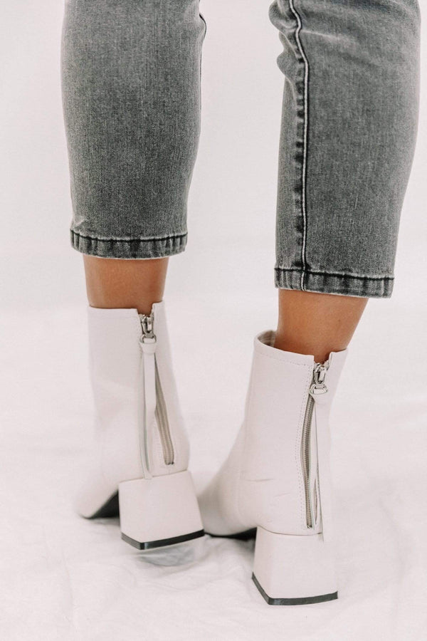 White Square Toe Block Bootie Lane 201