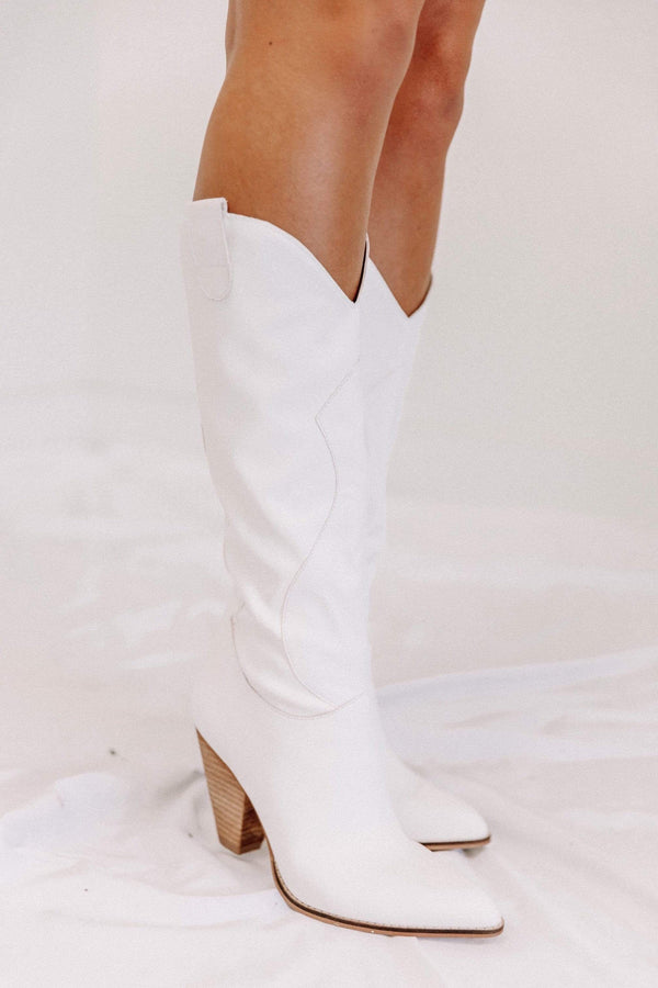 White Western Knee High Boot Lane 201