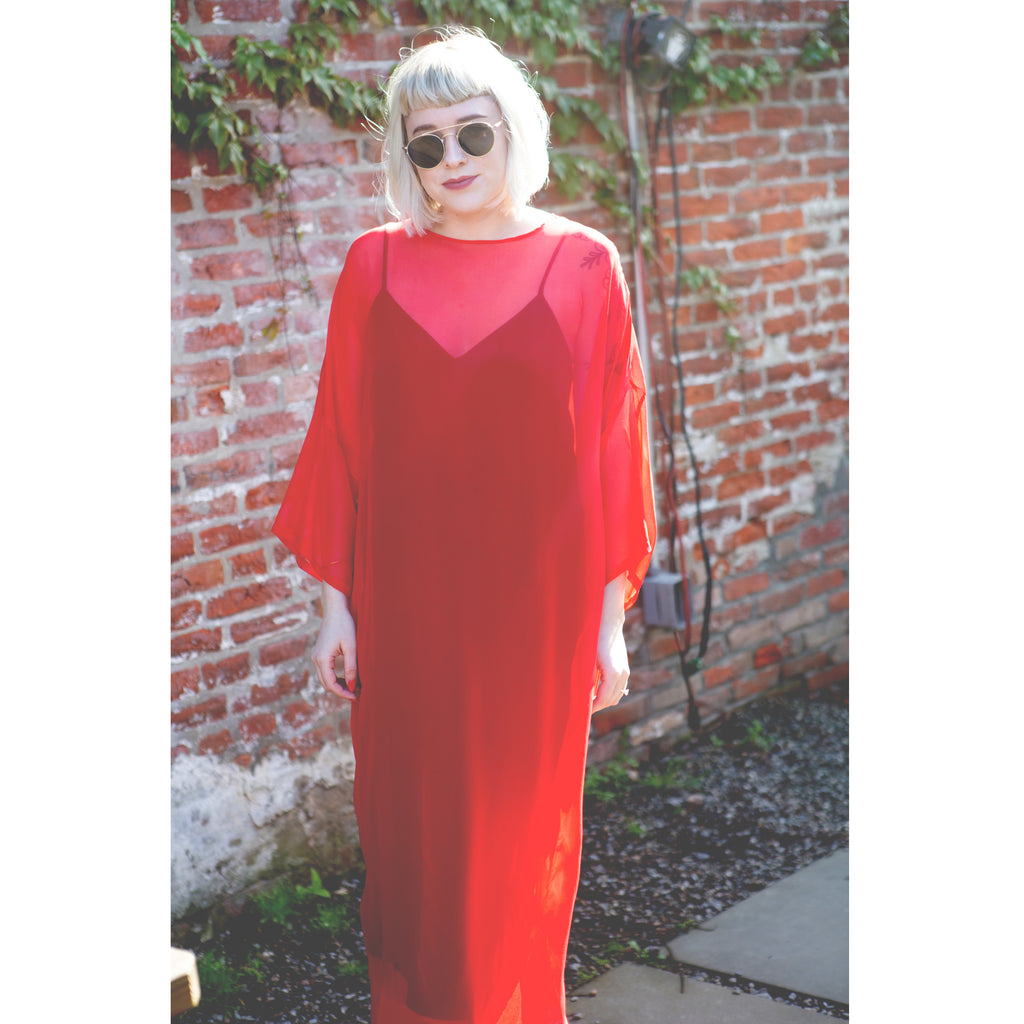 Sheer Tee in long red silk chiffon
