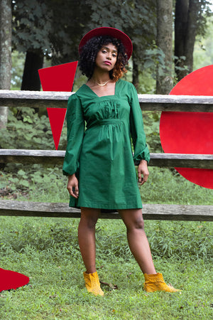 Jolene Pleat Dress in forest green