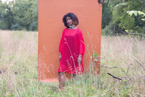 Sheer Tee in red silk chiffon