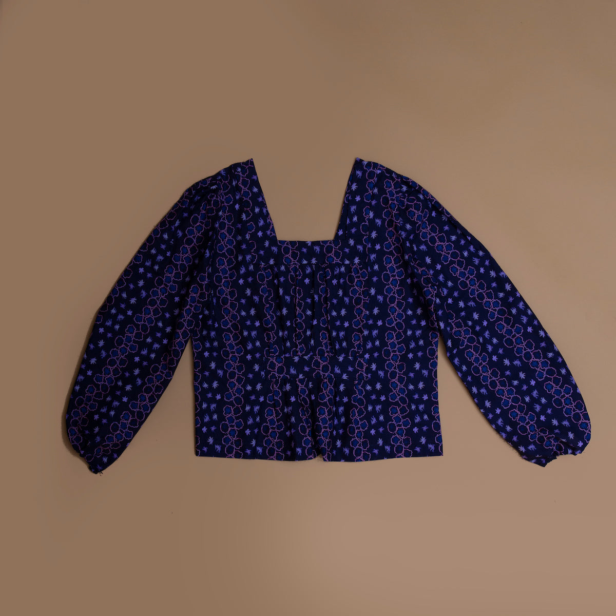 Jolene pleat top in navy space print