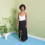 long wrap skirt in black silk