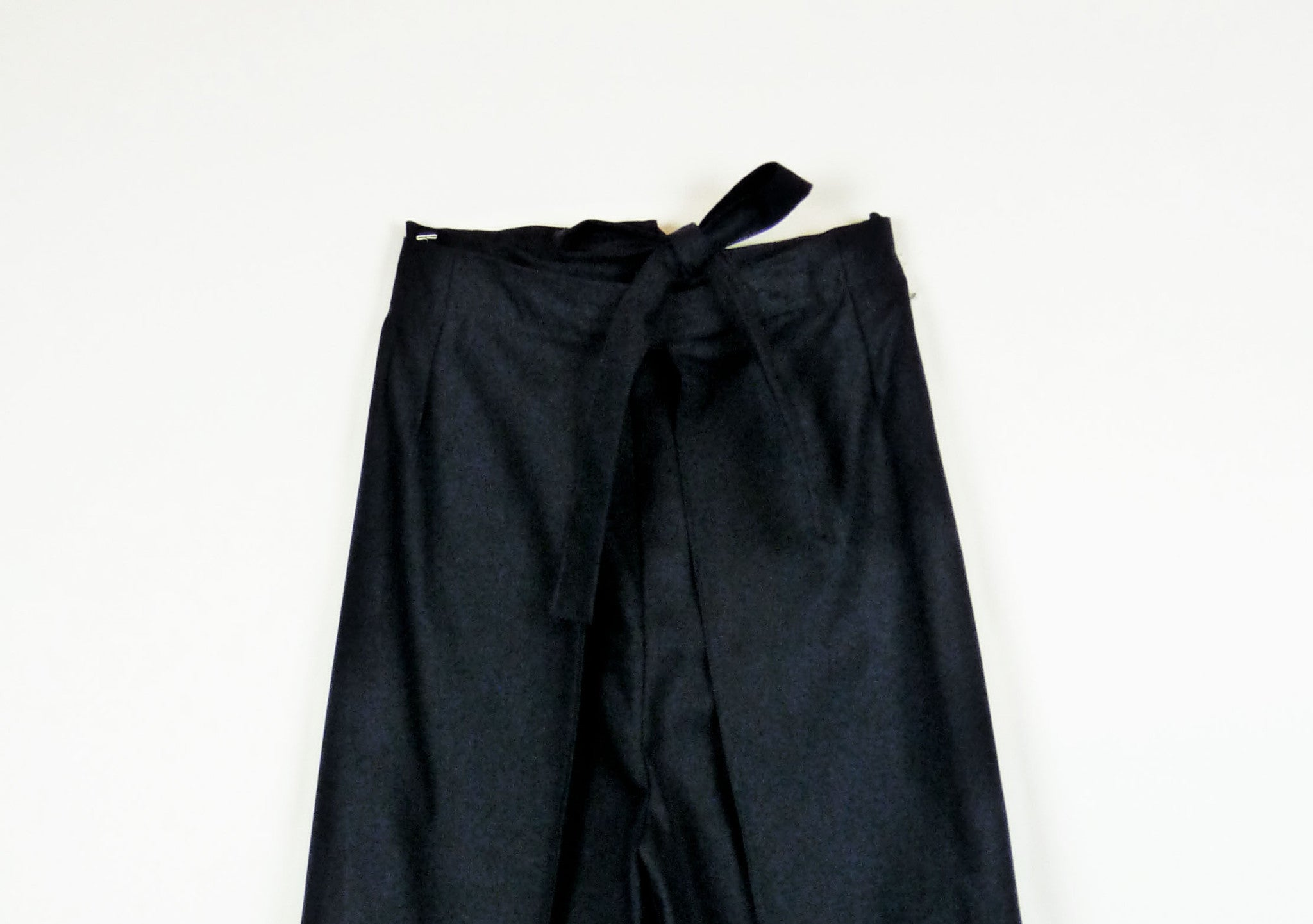 wrap pant in organic navy blue cotton twill