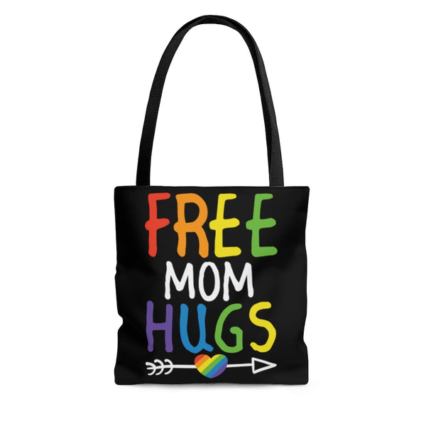 Free Mom hugs LGBTQ rainbow ally tote bag.
