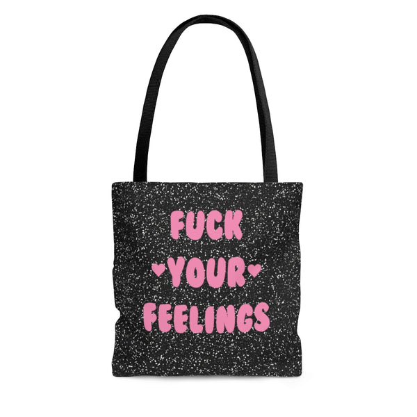 Fuck your feelings pink heart printed tote bag