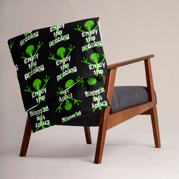 Funny alien probing fleece throw blanket