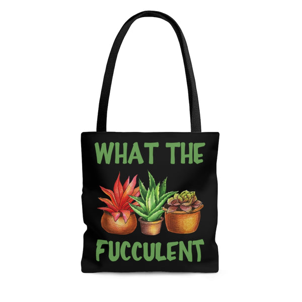 Funny succulent profanity pun tote bag. What the fucculent. Reusable grocery tote