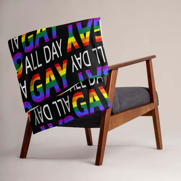 Gay all day pride fleece throw blanket