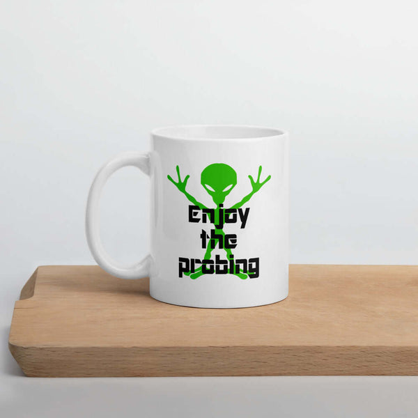 Funny alien abduction anal probing joke mug